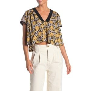 FP | NWT Leilani Print Crochet Lace Cropped Top
